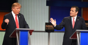 Republican Candidates Donald Trump and Ted Cruz go head-to-head at a recent debate.